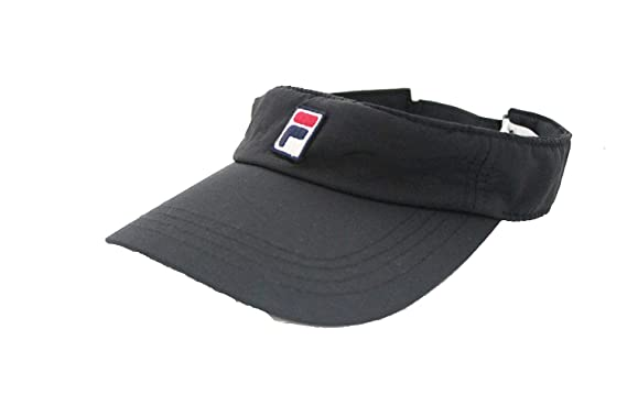 871b458963d919 Fila Unisex Heritage Nylon Adjustable Strap Visor, Curved Brim (Black)