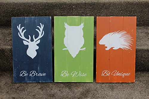 Rustic Nursery Decor - Woodland Animal Signs - Be Brave Be Wise Be Unique by Yellow Fern Studio