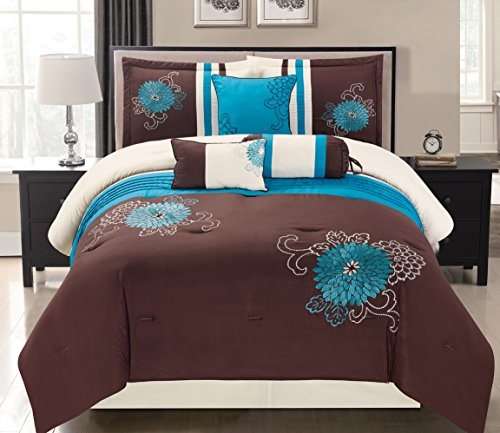 7 Piece Modern Oversize Turquoise Blue / Brown / Beige Embroidered Comforter set QUEEN Size Bedding