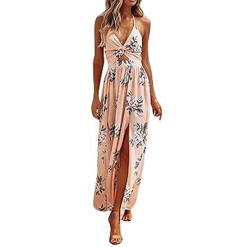 Vestidos largos para mujer, estilo Saihui sexy floral, estilo bohemio, correa de espagueti