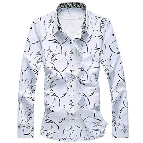 - LEKODE Men Shirt Fashion Formal Summer Beach Casual Daily Long Sleeve Printed Blouse(White,M(M))