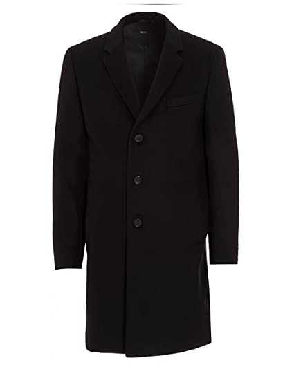 bcb69281a99 BOSS Hugo Black Mens Nye New-Wool Blend Black Crombie Coat  Amazon.co.uk   Clothing