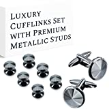 HAWSON Cufflink and Studs Tuxedo Set Black Gun Color with Platinum Finish Two Cufflinks with Six Shirt Studs Wrapped in Stylish Velvet Gift Bag