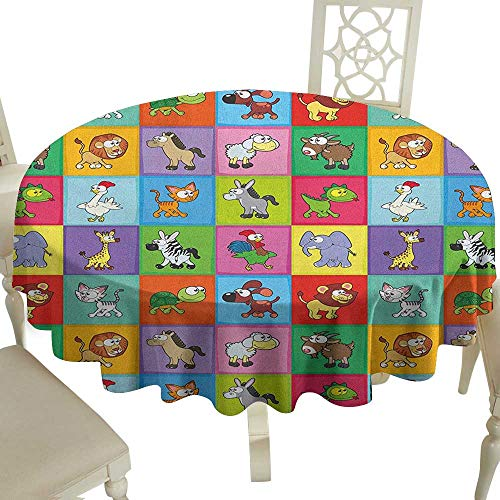 Cranekey Grid Round Table Cloth 36 Inch Nursery,Group of Funny Young Animals in Colorful Squares Happy Cartoon Wildlife Collection Multicolor Great for,Coffee & -