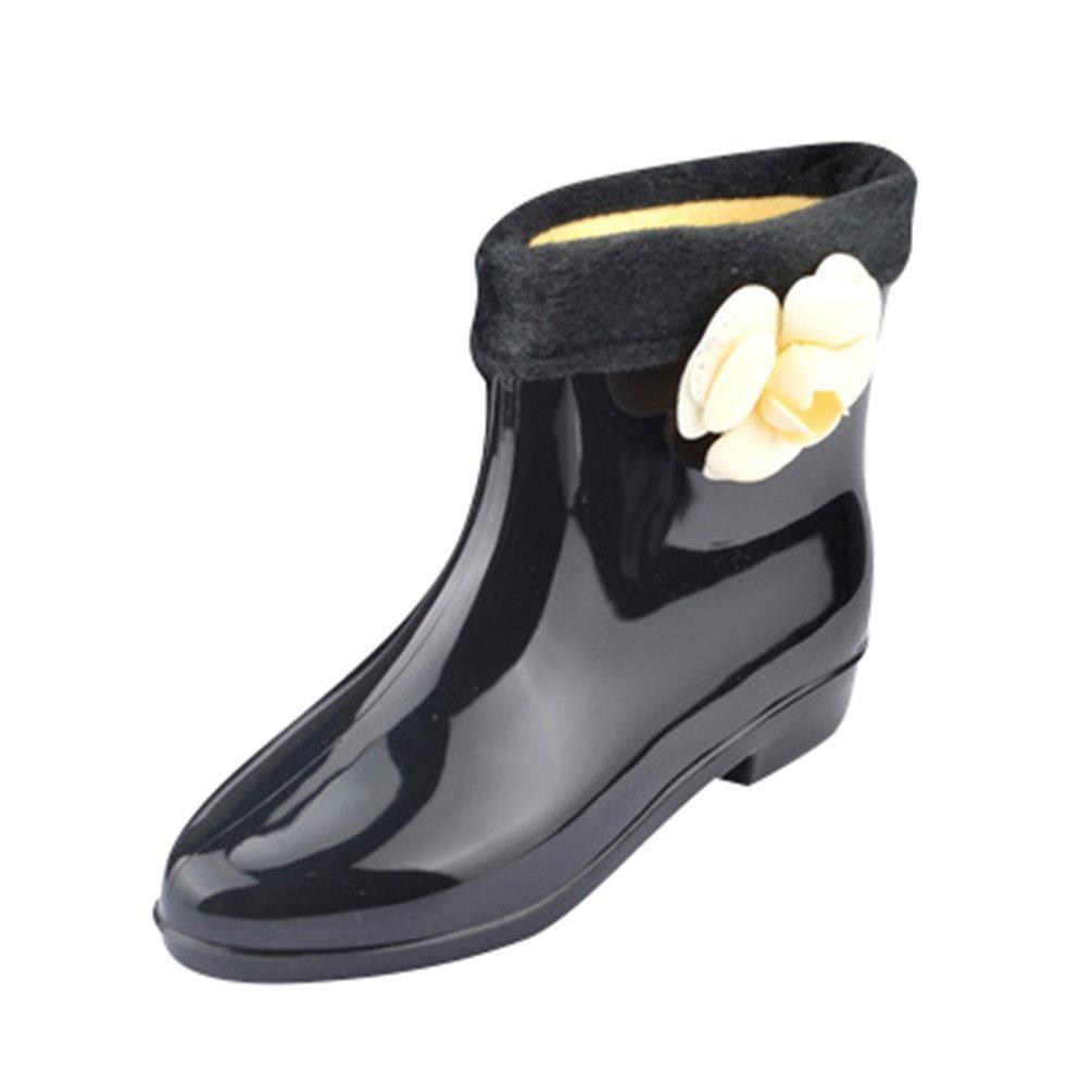 Xinwcang Donna Stivali da Pioggia da Moda, Scarpe da Moda Impermeabile Stivaletti Antiscivolo Rain Boot Nero2