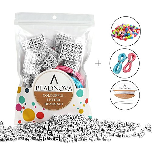 BEADNOVA 800pcs Alphabet Letter Loose Beads with White Acrylic Black Letters Alphabet'A-Z' Cube Beads for Jewelry Making with Free Jewelry Cords and 120pcs AB Colorful Beads Included (6mm)