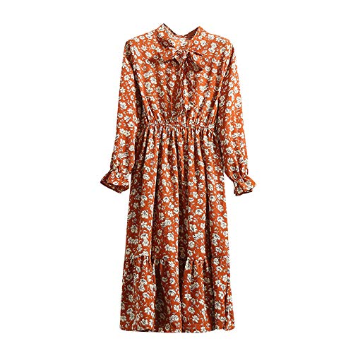 Lowprofile Chiffon Dress with Bow Tie Women Loose Bell Sleeve Lightwight Vintage Boho Midi Dress