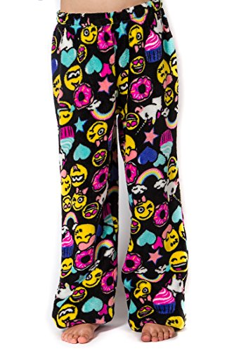 Girl's Peace Love & Fashion Emoji Pants - Black - Pant Peace Fleece