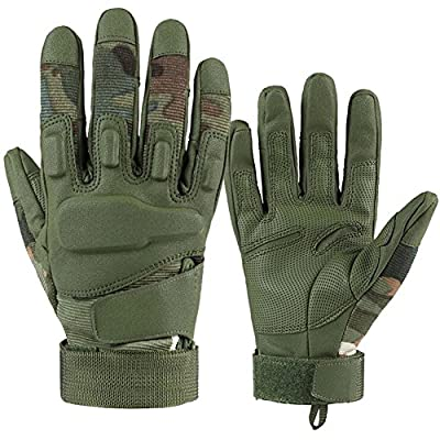 Etrance 1 Pair Breathable Waterproof Full Finger Tactical Gloves with Foam Knuckle Protection for Hunting Climbing Cycling Camo Green L