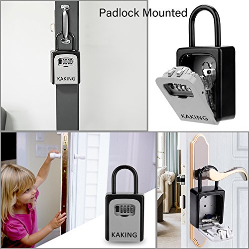 Front Door Lock Box with 4-Digit Combination for Realtor Construction Seniors Family and Friends by KAKING (Image #3)