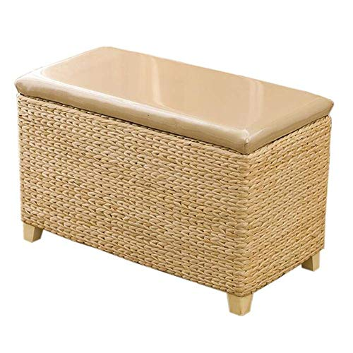 Footstool Retro Solid Wood Rattan Storage Change Shoe Bench Multifunction Home, 2 Colors GFMING (Color : A, Size : - Bar Harbor Rattan