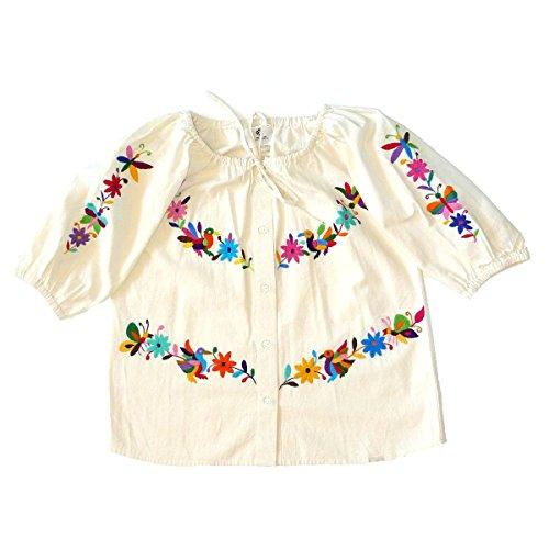 Mexican Clothing Co Womens Tenango Blouse Medium Beige 229