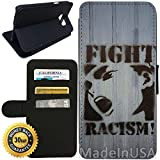 racism in canada - Flip Wallet Case for Galaxy S7 (Graffiti Fight Racism) with Adjustable Stand and 3 Card Holders | Shock Protection | Lightweight | Includes Stylus Pen by Innosub