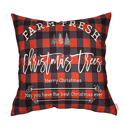 Fahrendom Winter Holiday Sign Farm Fresh Christmas Trees Farmhouse Gift Buffalo Checker Plaid Cotton Linen Home Decorative Throw Pillow Case Cushion Cover with Words for Sofa Couch 18 x 18 in