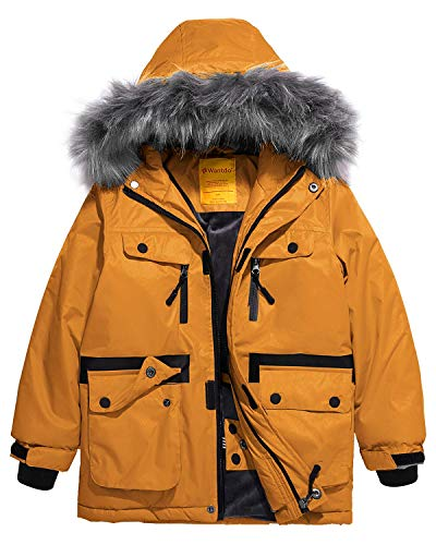 Wantdo Boys Waterproof Winter Jacket Parka Windproof Puffer Coat Ginger 10/12