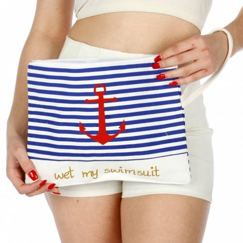 Knitting Factory Wet Swimsuit Bag, Wet Bikini Bag, Water-Resistant Wet Bag with Waterproof, Eco-Friendly Cotton Towel Beach Tote, Pool Bag, Luggage (Anchor ()