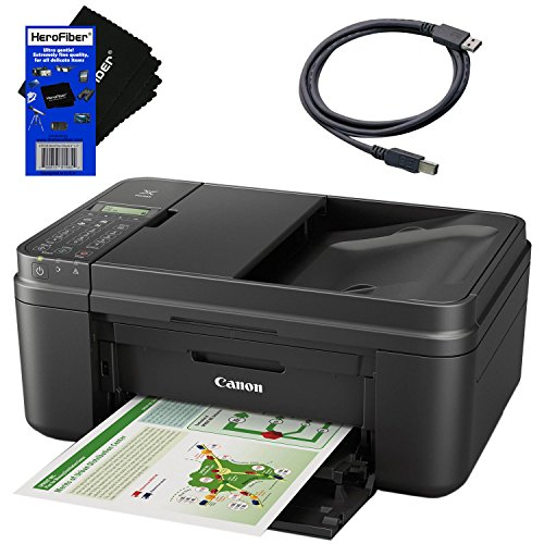 (Canon All in one Wireless Printer, Inkjet PIXMA MX492 (Black) with Print, Copy, Scan, Fax & Google Cloud Print Compatible + USB Printer Cable + HeroFiber Cleaning)