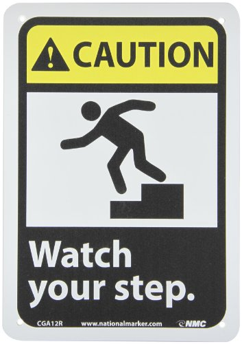 NMC CGA12R CAUTION - Watch your step. - 7 in. x 10 in. Plastic Caution Sign with Graphic, Black/White Text on Yellow/Black Base from NMC