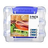 Sistema Klip It colección fiambrera contenedor de almacenamiento de alimentos, 15.2ounce/1.9taza cada, Transparente, Juego de 3, 1