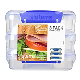 Sistema KLIP IT Collection Sandwich Box 1.9 Cup Compact Food Storage Container, 3 Pack, Clear/Blue | Great for Meal Prep | BPA Free, Reusable (B0040QD9MG) | Amazon price tracker / tracking, Amazon price history charts, Amazon price watches, Amazon price drop alerts