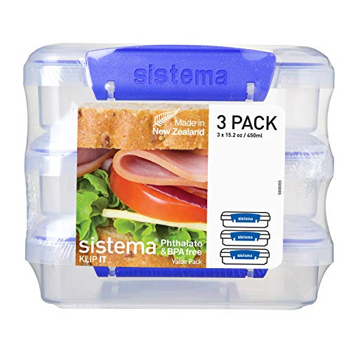 Sistema KLIP IT Collection Sandwich Box Food Storage Container, 1.9 Cup, Clear/Blue, 3 Pack| BPA Free