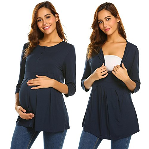 Aimado Women Breastfeeding Tee Shirts Casual Solid O-Neck Front Pleated Nursing Clothes(Navy Blue,XX-Large)