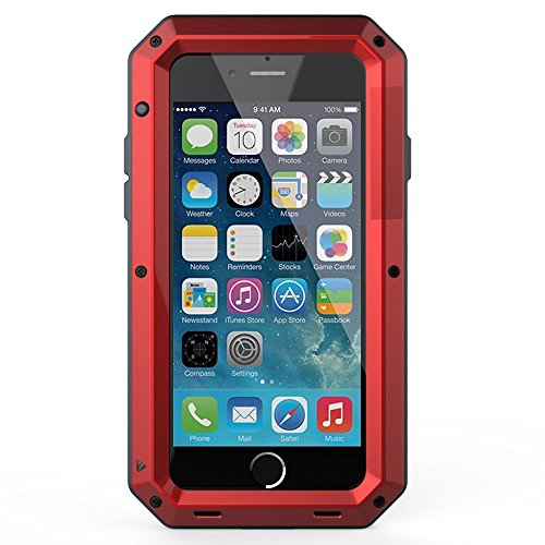iPhone 8 Case,iPhone 7 Case,Gorilla Glass Luxury Aluminum Alloy Protective Metal Extreme Shockproof Military Bumper Heavy Duty Cover Shell Case Skin Protector for Apple iPhone 8 & iPhone 7-Red