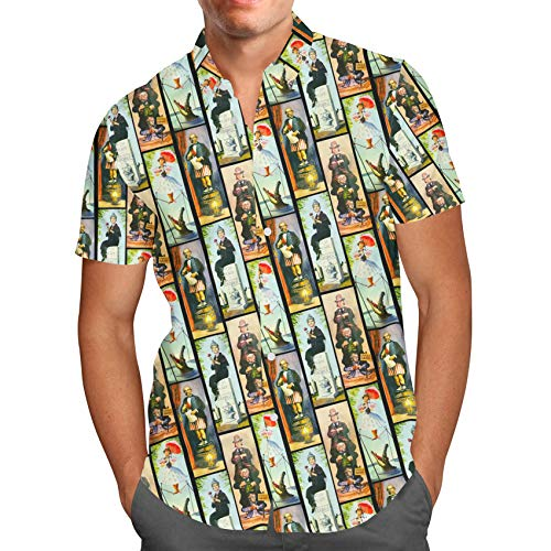 (Queen of Cases Haunted Mansion Stretch Paintings Mens Button Down Short Sleeve Shirt -)