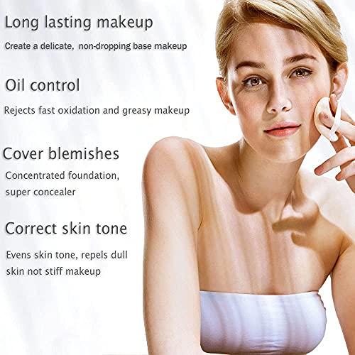 ZFC Foundation Makeup Concealer Foundation Cream Long Lasting Waterproof Matte Foundation Full Coverage Nude Makeup BB CC Foundation, Even Skin Tone Makeup Base Prime (Light-skinned)