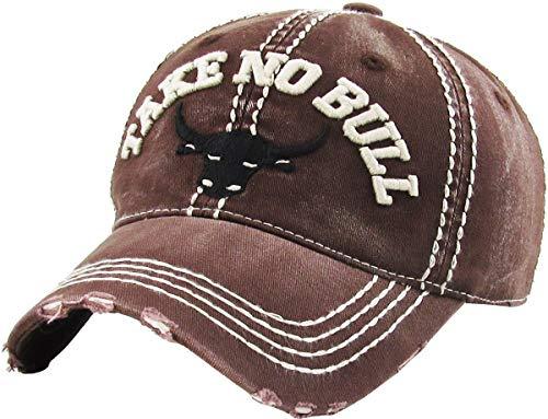 (KBVT-704 BRN Fashion Vintage Baseball Cap Distressed Washed Dad Hat Adjustable)