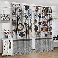 Apartment Decor Steampunk Rustic Shading insulated curtain Decorations Clock Vintage Design for Women Ideas in Modern Pop Art Wall Clocks World Times Soundproof shade W96 x L84 Inch Gray White Red Bl