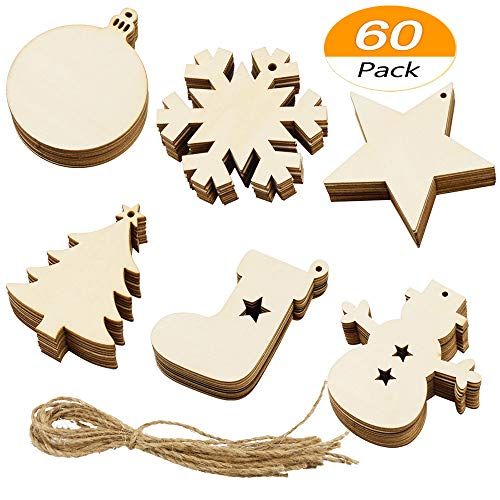 Meetory 60 Piece Christmas Wooden Ornaments-Unfinished Wood Christmas