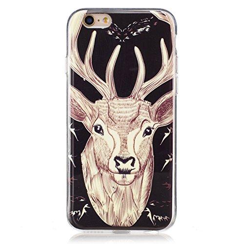 Voguecase® für Apple iPhone 6 Plus/6S Plus 5.5 hülle, Schutzhülle / Case / Cover / Hülle / TPU Gel Skin mit Nachtleuchtende Funktion (Hirschkopf 01) + Gratis Universal Eingabestift
