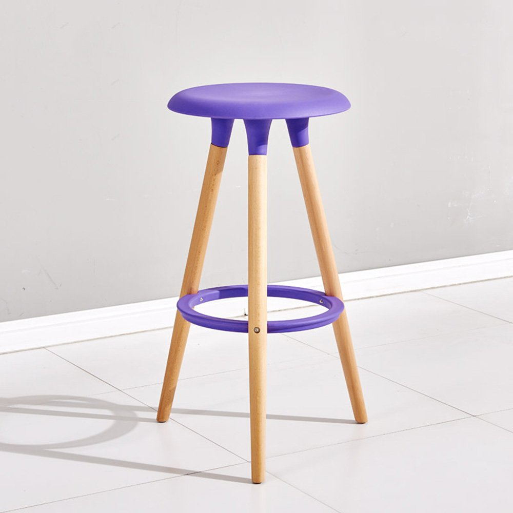 Solid wood bar chairs / bar stools / bar chairs / simple and stylish wooden chairs ( Color : Blue ) by Xin-stool