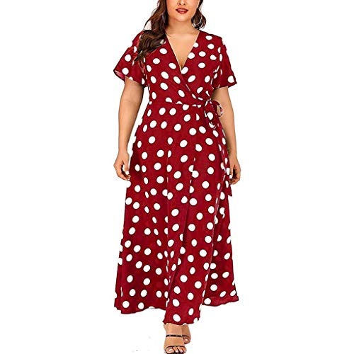 - Pervobs Plus Size Women Dress Casual V-Neck Short-Sleeved Polka Dot Print Tie Belt Side Split Long Swing Dress Vestido(3XL, Red)