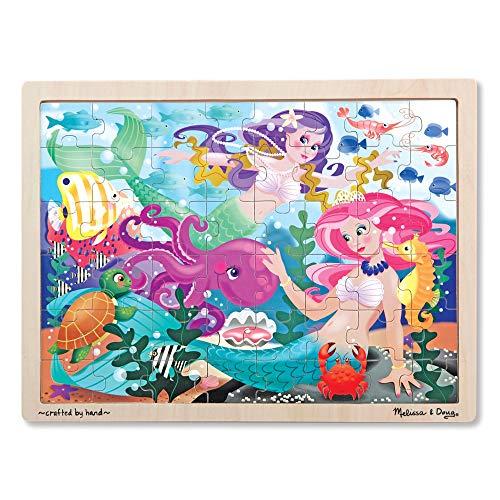 Melissa & Doug Mermaid Fantasea Wooden Jigsaw Puzzle With Storage Tray (48 pcs) ()