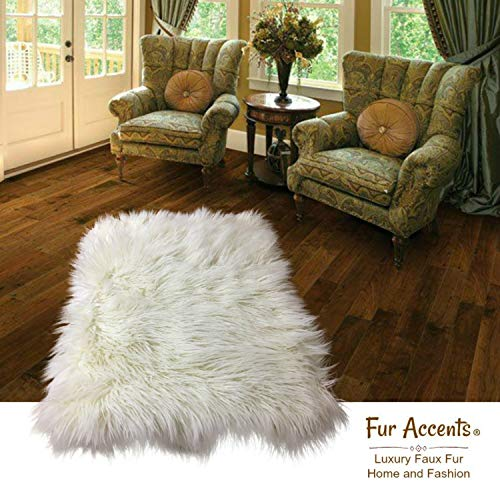 Fur Accents Classic Rectangle Sheepskin Area Rug Plush Faux Fur 4 x6 , Warm Off White