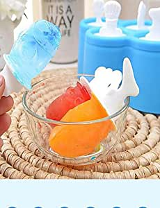 JIAO-3 pcs New Frozen Clear Ice Cream Mould Popsicle Maker Fish Kitchen Mold DIY , blue