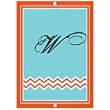 ''W '' Initial Monogram Personalized Letter W Blue Room Nursery Décor METAL Sign Blue Red