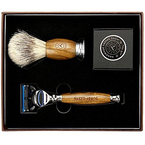 LUXURY RAZORS FOR MEN ~ LUXURY SHAVING KIT, Brazilian Sandalwood Shaving Sets, Replaceable 5 Blade Wood Razor, Organic Shaving Soap Sandalwood Shave Brush, Great Men & Groom Gift