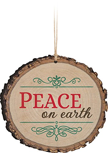 P. Graham Dunn Peace On Earth Rustic Bark Look Wood Christmas Ornament