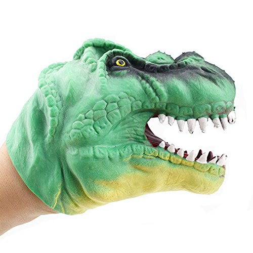 (Gbell Dinosaur Hand Puppet Pretend Toys for Kids Baby Silica Gel Spoof Story Dino Puppet Interactive Glove Educational Toys for Toddler Boys Girls Gifts,13×12 cm)