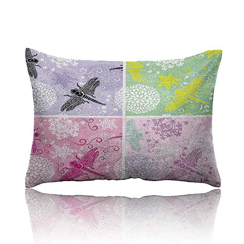 """homehot Dragonfly Mini Pillowcase Floral Frame Pattern with Dragonfly and Dandelion Blooms Ornate Image Nature Fun Pillowcase 13""""x18""""Multicolor"""