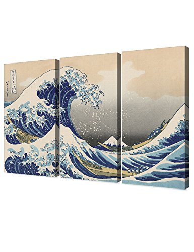 (DECORARTS - The Great Wave Off Kanagawa(Triptych), Katsushika Hoki. Classic Art Reproduction, Giclee Print On Canvas. Stretched Canvas.)