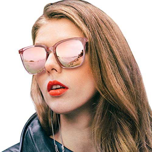 SIPHEW Womens Mirrored Sunglasses Polarized-Fashion Oversized Eyewear with UV400 Protection for Outdoor (Pink Frame, Pink Mirrored ()