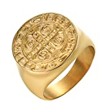 Yoursfs Fashion Gold and Silver Colors Classic Men's Punk Style Hip Hop Ring Band Cool Lion Head Gold Ring Jewelry (Saint Benedict Ring, 7)