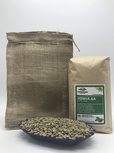 5 Pounds - African - Kenya AA - Unroasted Green Coffee Beans - Grown In Region Nyeria - Altitude 1500 Meters - Varietals Bourbon, SL34 - Drying/Milling Process Is Fully Washed - Includes Burlap Bag (Kenya Aa Green Coffee Beans)