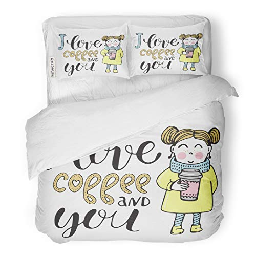 Emvency Bedding Duvet Cover Set Cafe Romantic Cute Girl Coffee and Hearts Phrase for Valentines Day Wedding Cartoon 3 Piece Twin 68