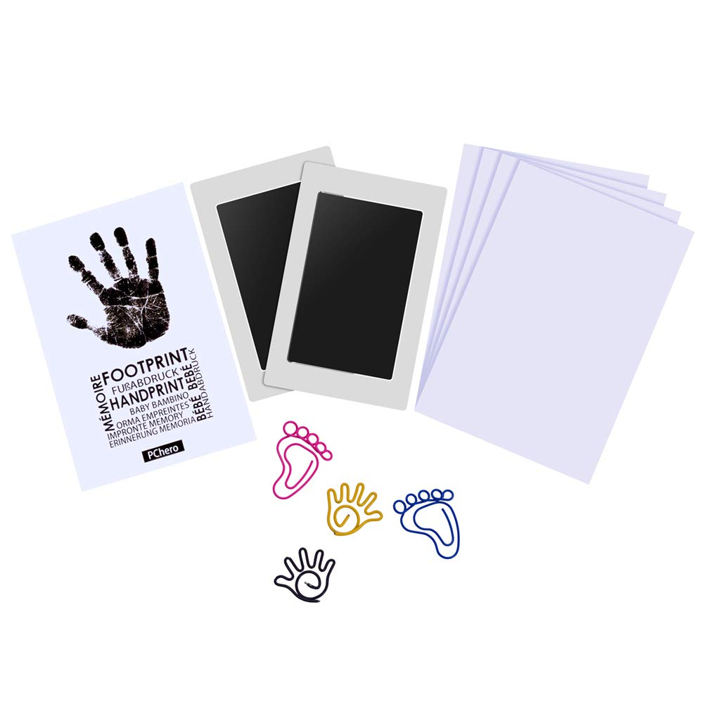 PChero Safety Baby Handprint and Footprint Ink Pad Kit, Non-Toxic and Clean-Touch, Uses for Family Keepsake Baby Shower Gift and Registry (Medium Size, 2 Packs) BB018