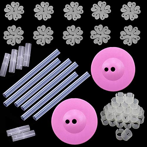 PRALB 6X30cm Balloon Column/Stick/Plastic Poles+50Pcs Balloon Rings+2Pcs Pink Water/Sand Fillable Bases+10Pcs 5In1 Balloon Clip Balloon Wedding Decorations Event Party Supplies Garden Decorations from PRALB